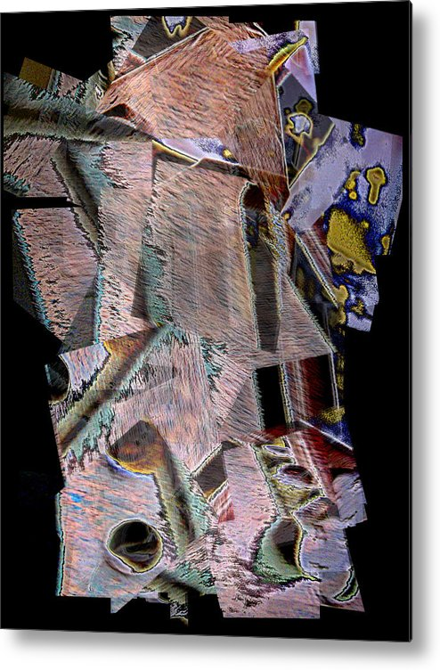 Abstract Metal Print featuring the mixed media Knutts by Rene Avalos