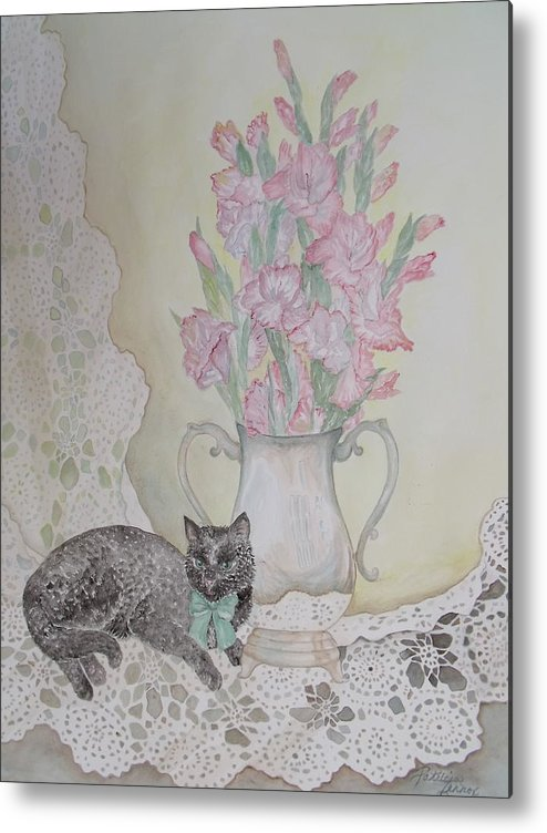 Lace Metal Print featuring the painting Lace With Stirling Silver by Patti Lennox