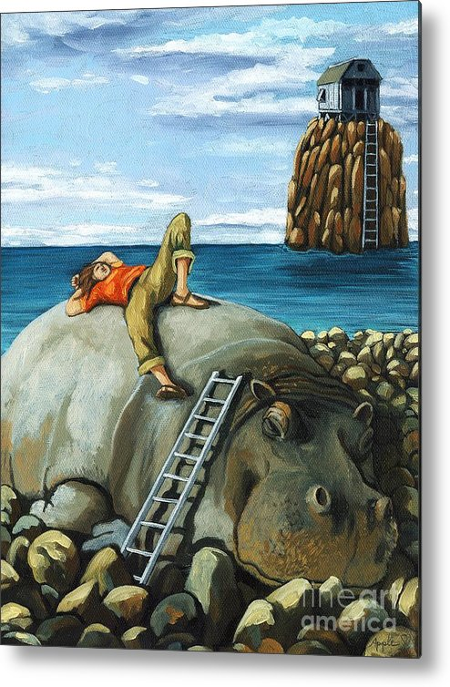 Surreal Metal Print featuring the painting Lazy Days - Surreal Fantasy by Linda Apple