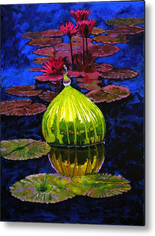 Blown Glass Metal Print featuring the painting Lilies And Glass Reflections by John Lautermilch