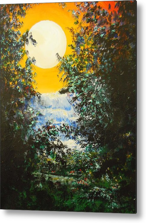 Yellow Sky Metal Print featuring the painting Magical Moonlight by Dan Whittemore