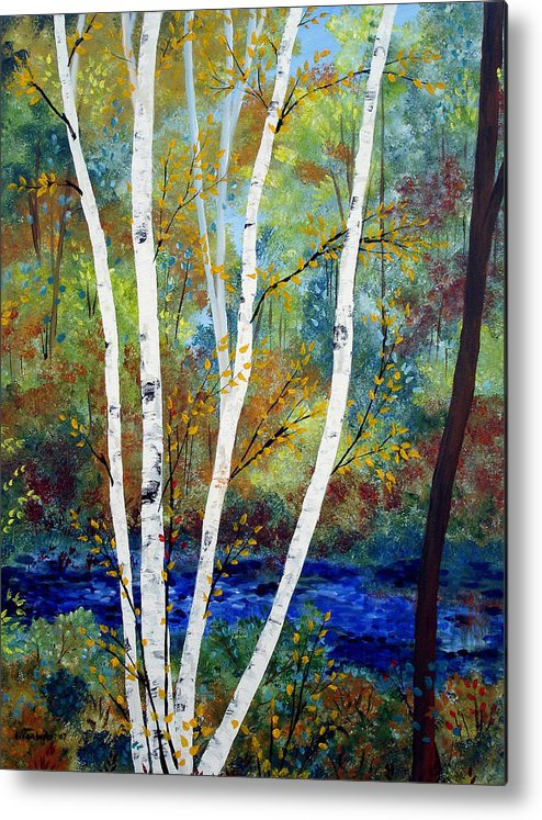 Landscape Metal Print featuring the painting Maine Birch Stream by Laura Tasheiko