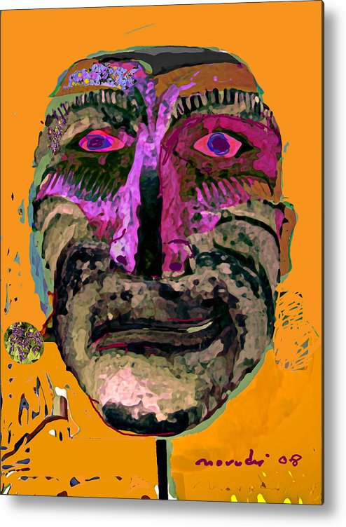 Mask Metal Print featuring the painting Mask 7 by Noredin Morgan