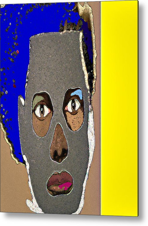 Mask Metal Print featuring the painting Mask 9 by Noredin Morgan