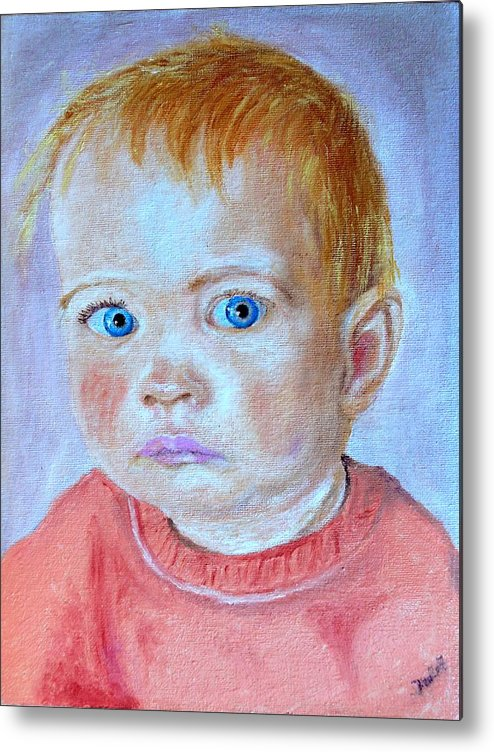 Leonie Metal Print featuring the painting My Granddaughter Leonie by Helmut Rottler