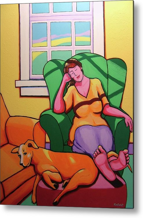 Sleeping Dog Metal Print featuring the painting Nap Time by Robert Tarr