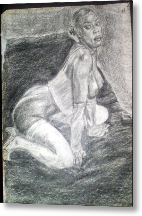 Figure Metal Print featuring the drawing Nude Study 1 by Norman Sparrow