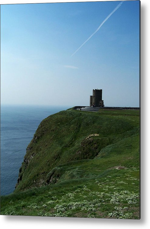 Irish Metal Print featuring the photograph O'brien's Tower At The Cliffs Of Moher Ireland by Teresa Mucha