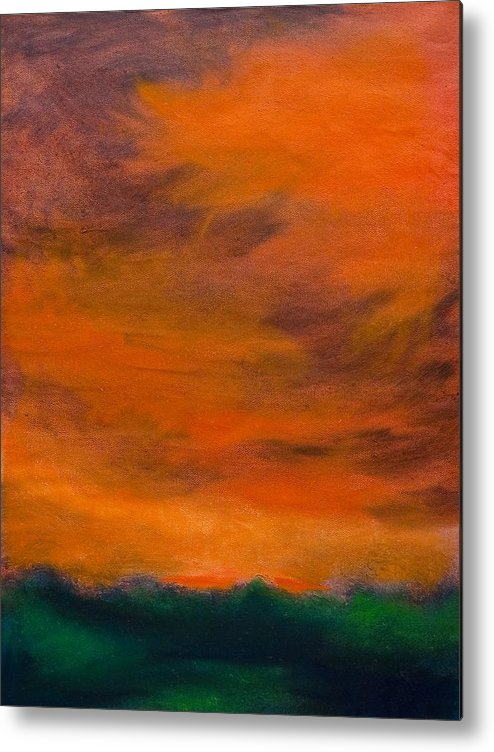 Abstract Landscape Metal Print featuring the painting Orange Sky by Wynn Creasy