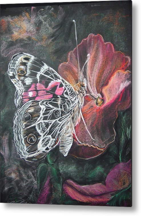Painted Lady Metal Print featuring the drawing Painted Lady On A Pansy by Bonnie Peacher