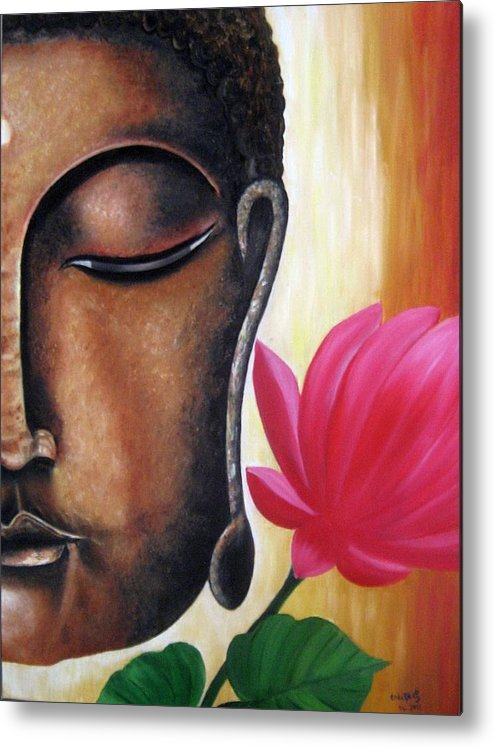 Figurative Metal Print featuring the painting Peaceful by Usha Rai