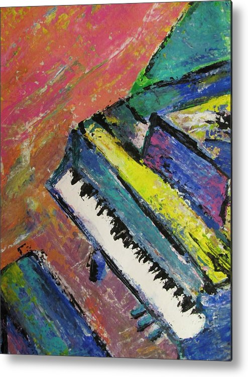 Music Metal Print featuring the painting Piano With Yellow by Anita Burgermeister