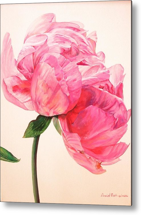 Floral Painting Metal Print featuring the painting Pivoine 3 by Muriel Dolemieux