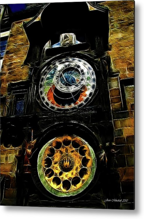 Prague Metal Print featuring the digital art Prague Clock by Joan Minchak