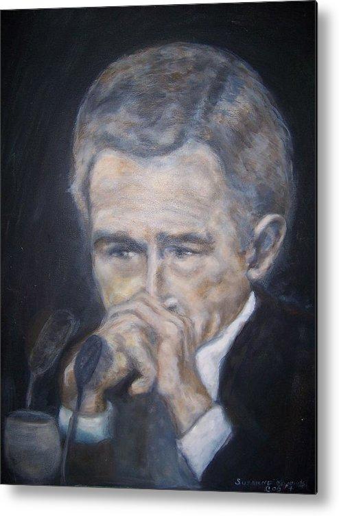 President George Bush Metal Print featuring the painting President George Bush by Suzanne Reynolds