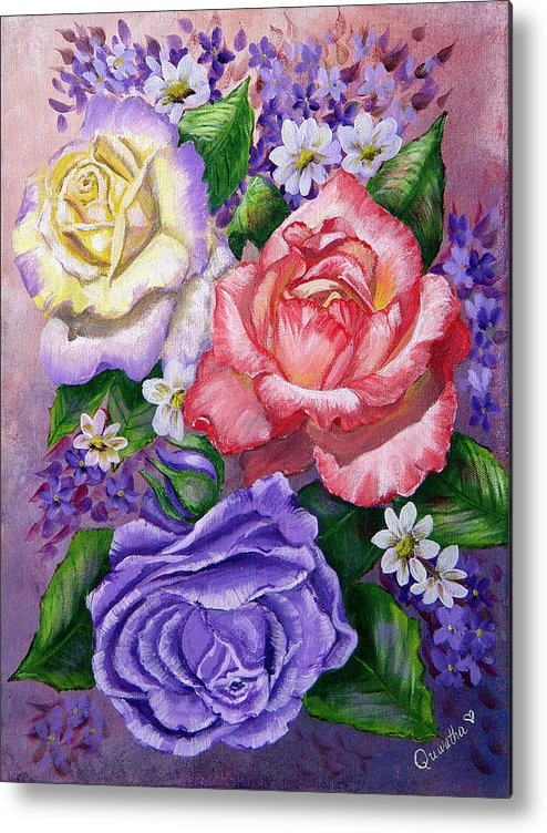 Rose Metal Print featuring the painting Roses by Quwatha Valentine