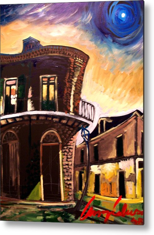 Cityscape Metal Print featuring the painting Royal St Sunrise 2 by Amzie Adams