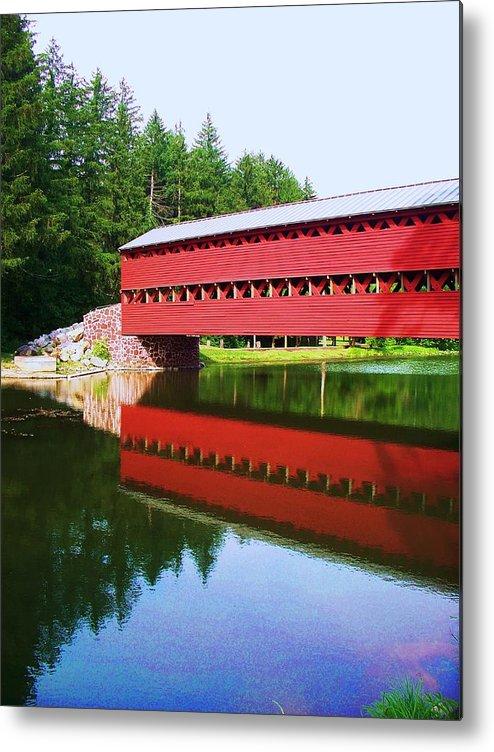 Sachs Bridge Metal Print featuring the painting Sachs Bridge by Eric Schiabor