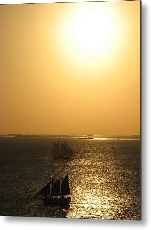Sailing Metal Print featuring the photograph Sailing At Sunset by April Camenisch