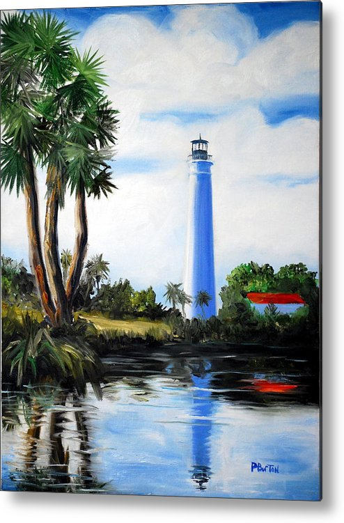 Light House Florida Saint Marks River Ocean Sea Palms Seacapes Metal Print featuring the painting Saint Marks River Light House by Phil Burton