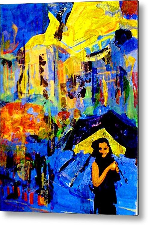 Artwork Metal Print featuring the painting Shalom Manhattan by Maya Green