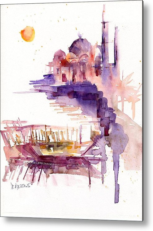 Landscape Metal Print featuring the painting Sharjah Sunset by Beena Samuel