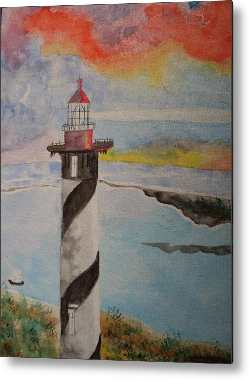 Lighthouse Metal Print featuring the painting St. Augustine Fl Lighthouse by Warren Thompson