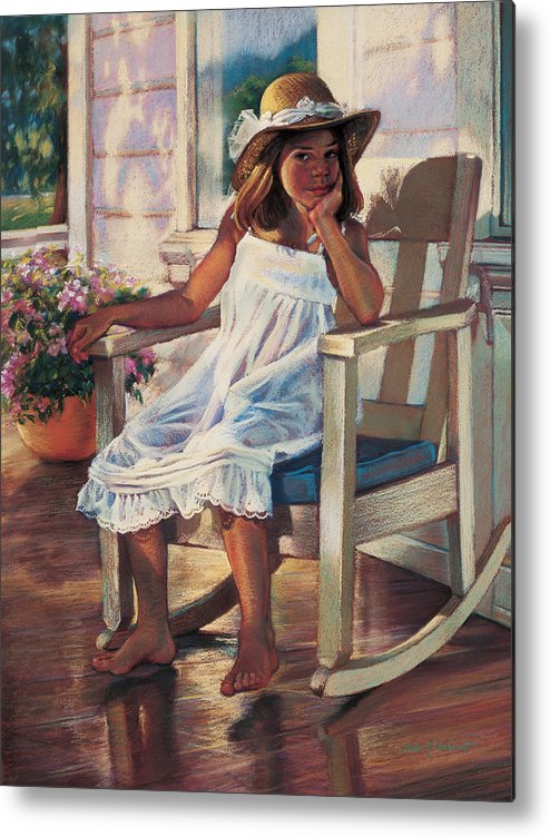 Girl Metal Print featuring the painting Summer Afternoon by Jean Hildebrant