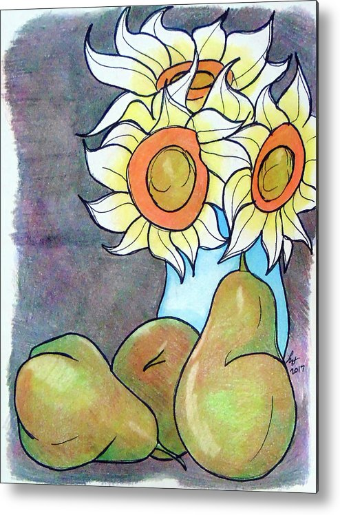 Sunflowers Metal Print featuring the drawing Sunflowers And Pears by Loretta Nash