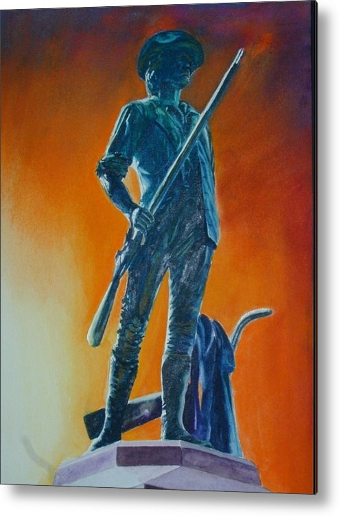 Patriot Metal Print featuring the painting The Minuteman by Dwight Williams