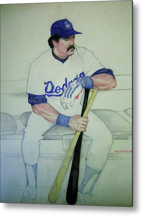 Baseball Metal Print featuring the drawing The Pinch Hitter by Nigel Wynter