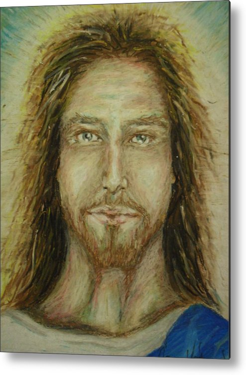 Oil Pastel Stare Realistic Color Eyes Portrait Human People Religious Metal Print featuring the painting The Son by Agnes V