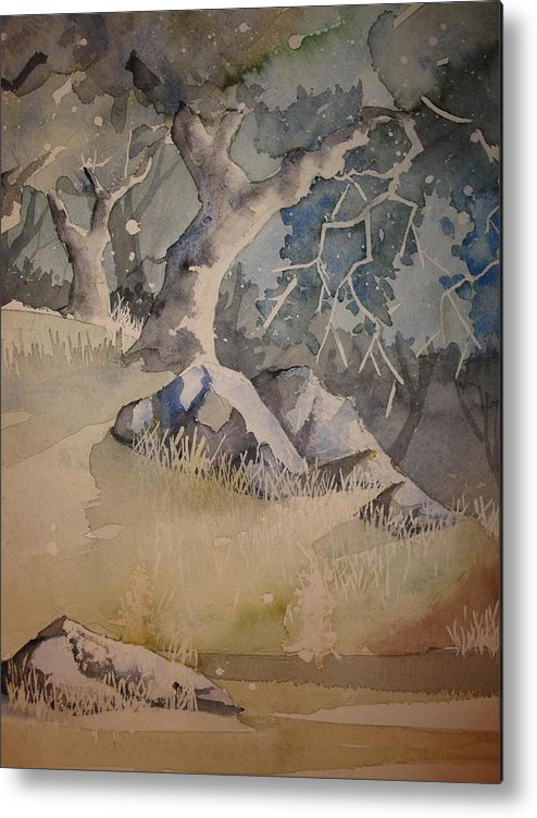 Trees Metal Print featuring the painting Trees And Light by Steven Holder
