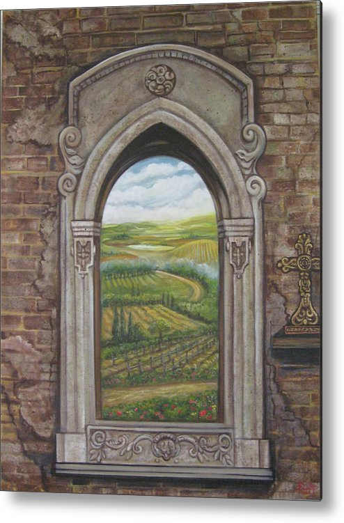 Window Metal Print featuring the painting Tuscan View by Diann Baggett