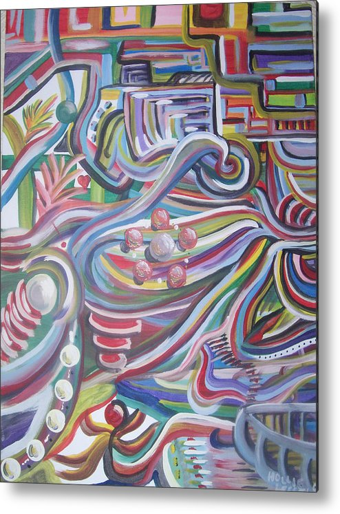 Abstract Metal Print featuring the painting Twisted by Hollie Leffel