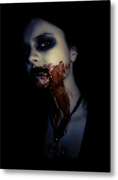 Vampire Metal Print featuring the photograph Vampire Feed by Kelly Jade King