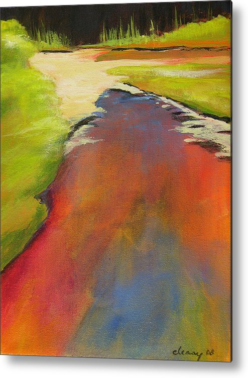 Landscape Metal Print featuring the painting Water Garden Landscape 7 by Melody Cleary