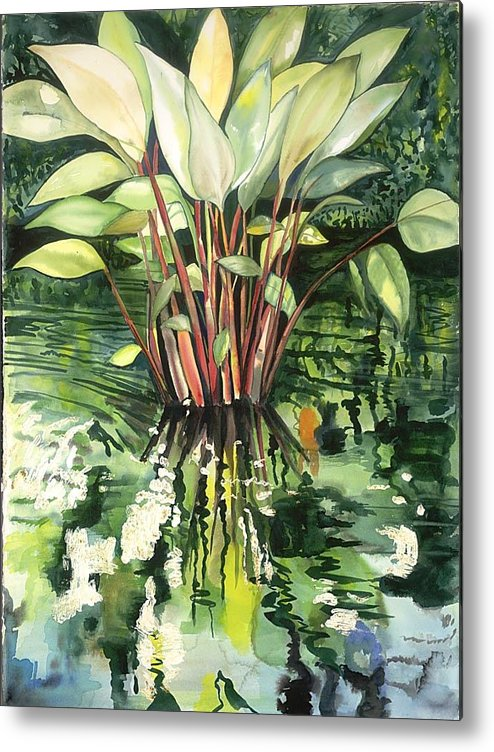 Foliage In A Pond Metal Print featuring the painting Water Plant by Ileana Carreno