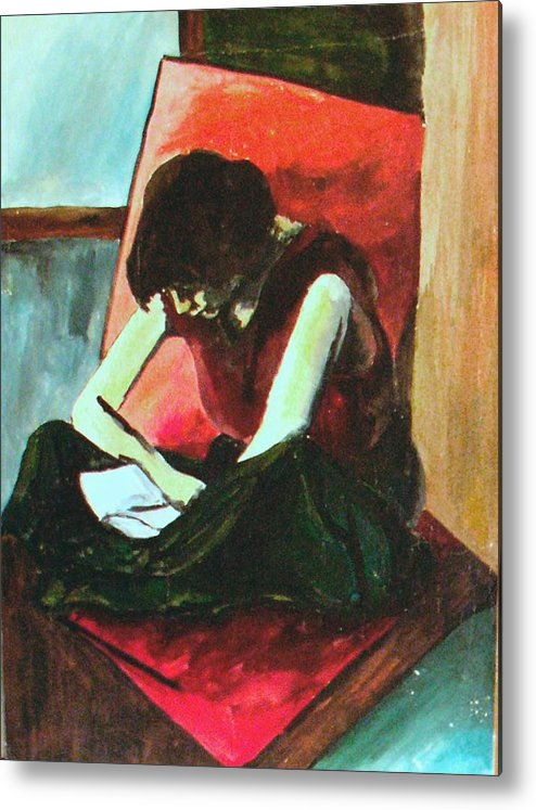 Woman Metal Print featuring the painting Woman Reading by Vasile Ion