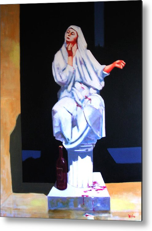 Figure Metal Print featuring the painting Drunken Magdalena by Ihab Bishai