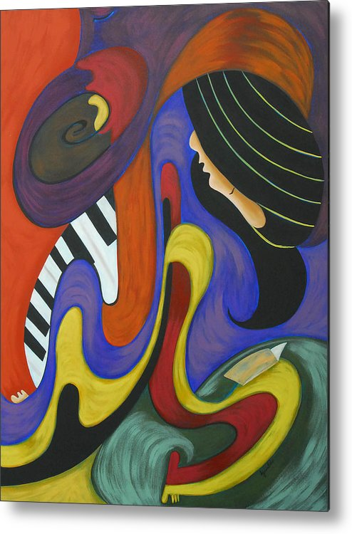 Abstract Expressionism Metal Print featuring the painting Reading With Music by Marta Giraldo
