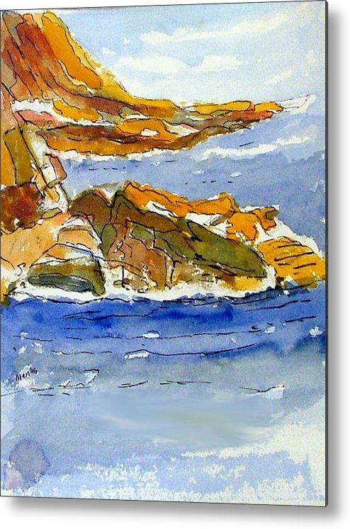 Watercolor Metal Print featuring the painting Ocean Scene by Jivantoro Mentis