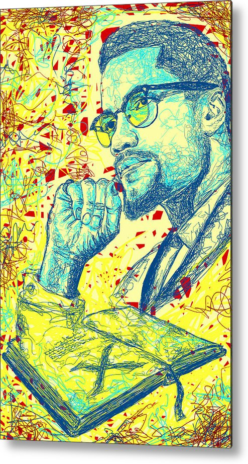 Malcolm X Drawing In Lines Metal Print featuring the drawing Malcolm X Drawing In Lines by Kenal Louis