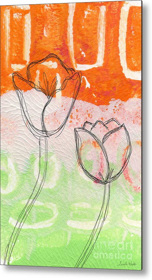 Abstract Metal Print featuring the mixed media Tulips by Linda Woods