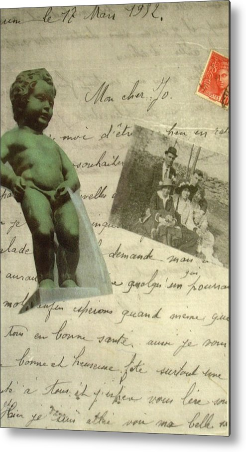 French Letters Statue Stamps Collage Metal Print featuring the mixed media French Memoirs by Susan Grissom