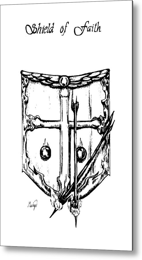 Shield Metal Print featuring the drawing Shield Of Faith by Maryn Crawford