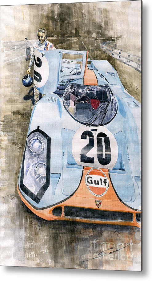 Watercolor Metal Print featuring the painting Steve Mcqueens Porsche 917k Le Mans by Yuriy Shevchuk