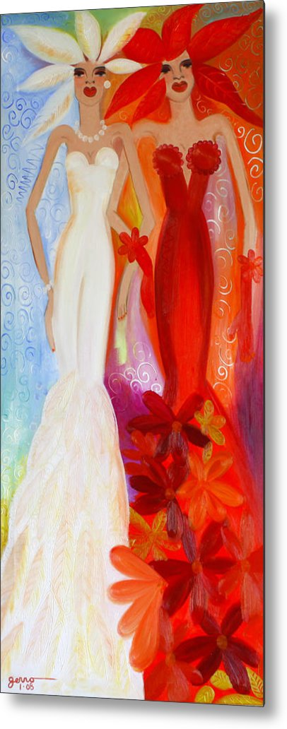 Haute Couture Artwork Metal Print featuring the painting Pearl And June by Helen Gerro