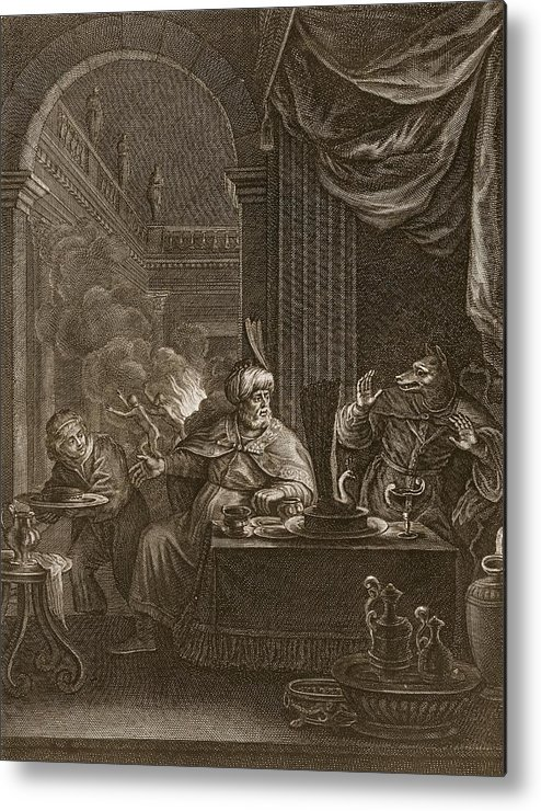Ovid Metal Print featuring the drawing Lycaon Metamorphosed Into A Wolf, 1731 by Bernard Picart