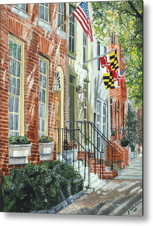 Baltimore Metal Print featuring the painting William Street Summer by John Schuller